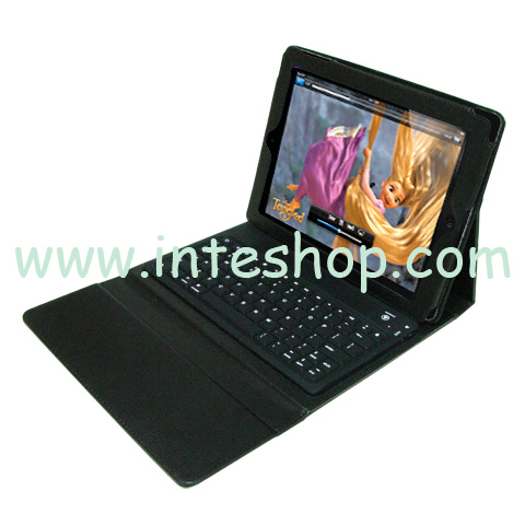 Picture of Bluetooth Keyboard Leather Case for iPad 2
